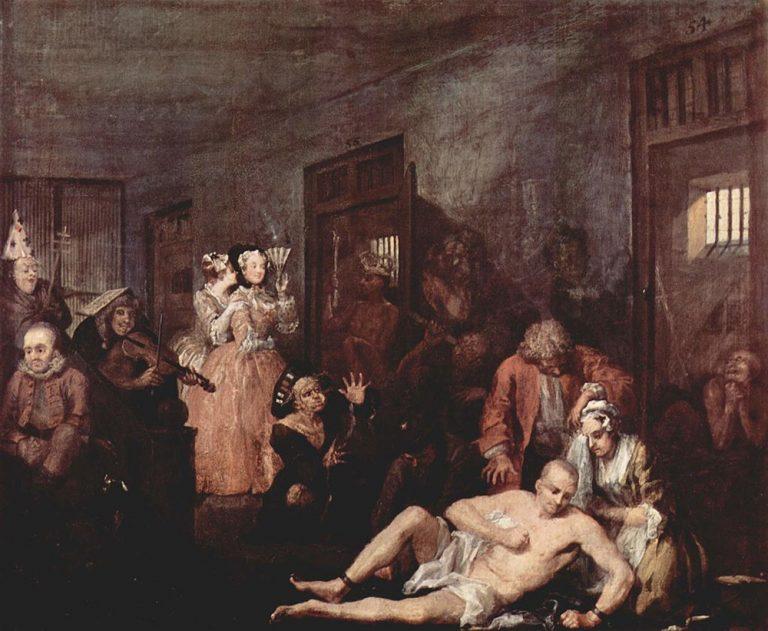 madness, prison, inmates, patients, public show, London, England, Britain, history, painting, art, William Hogarth, crazy, mental asylum, mental illness, mental health, horrible, masterpiece