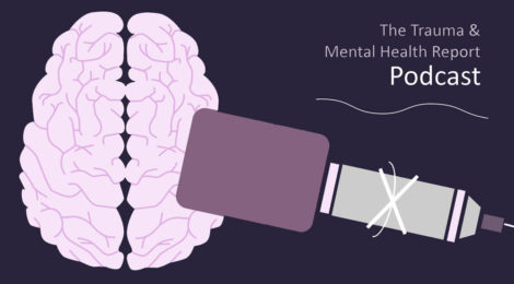 The logo of the Trauma and Mental Health Report Podcast: A brain with a microphone close to it