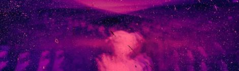 Distorted pink silhouette with abstract purple background.