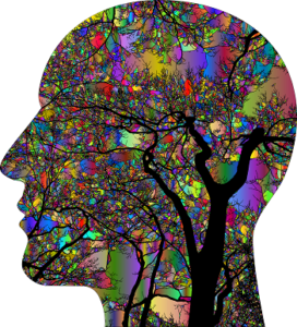 A psychedelic profile of a head with neural branches growing through it