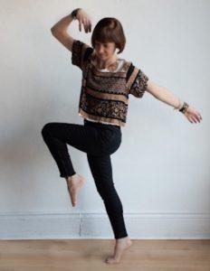 Holistic counsellor Tasha Bodnarchuk dancing.